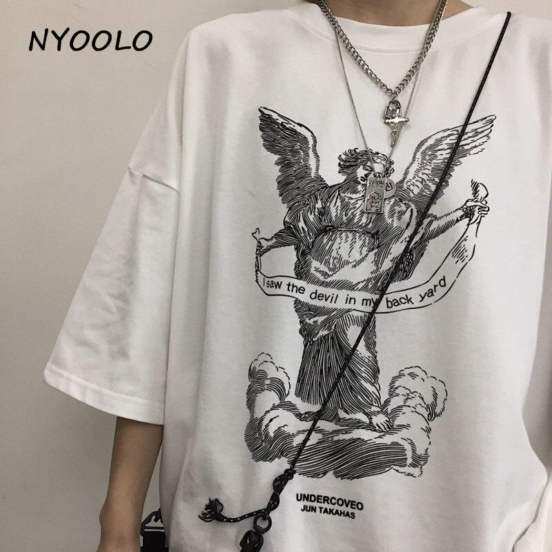 NYOOLO Harajuku style streetwear 2019 summer angel print t shirt loose short sleeve O-neck T-shirt women/men clothing tops tee