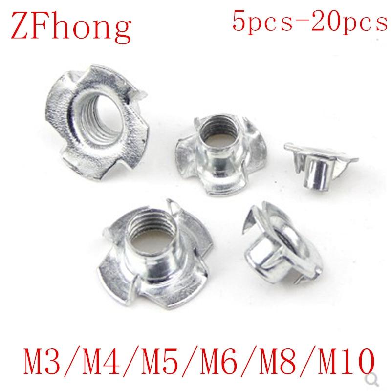 5-50PCS M3 M4 M5 M6 M8 M10  Metric Zinc Plated Carbon Steel T Nuts 4 Prongs Knock In Wood Captive Nut Insert Nut