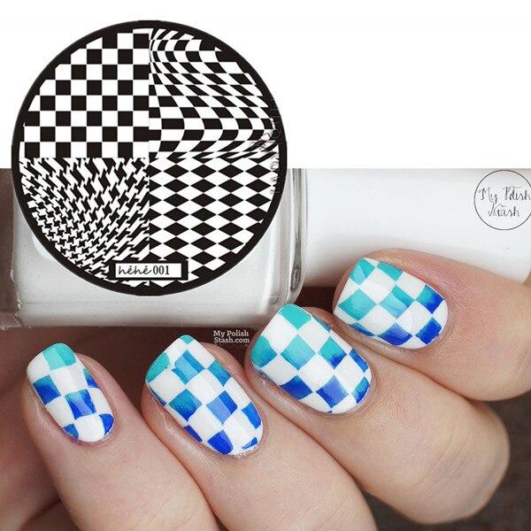 Nail Stamping Plate Geometric Black&White Box Nail Art Image Stamp Template Placa Carimb Diamond/Square Design 1 PCS Packing