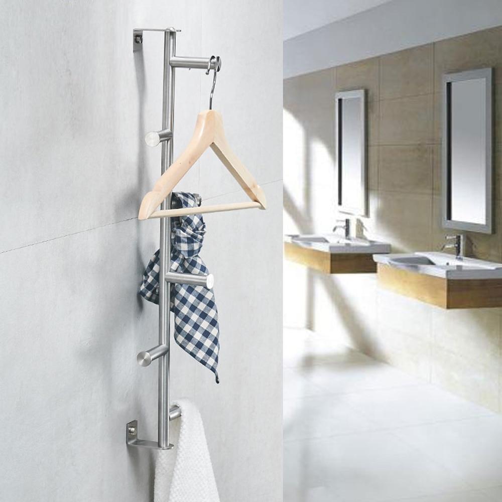 Toallero de acero inoxidable 304, barra colgante vertical cepillada para colgar en la pared, gancho de toalla para colgar en la ropa wx7201614