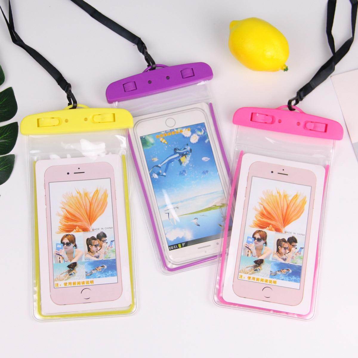 Para Huawei 5,5 pulgadas Bolsa impermeable bolsa de teléfono móvil funda seca impermeable para iphone Canoa Kayak Rafting de natación a la deriva