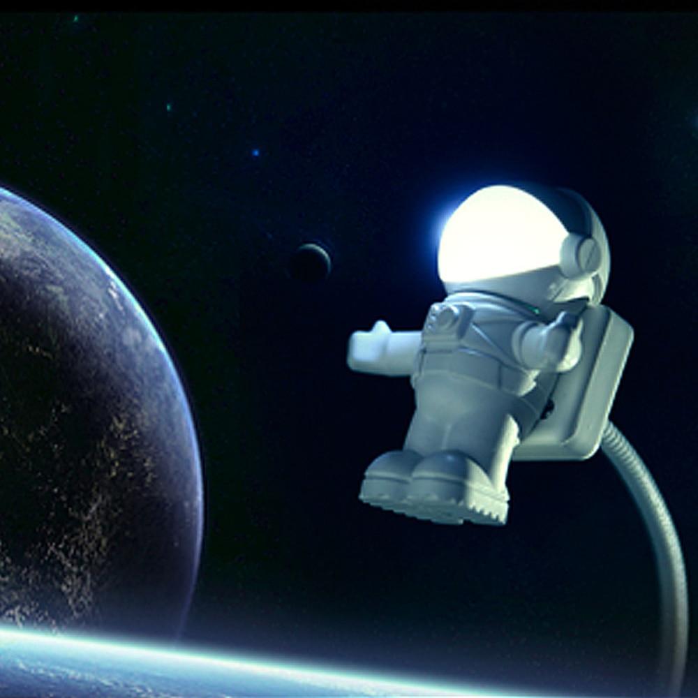 Mini astronauta spaceman usb led ajustável luz da noite para computador pc lâmpada de mesa luz branco puro