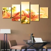 free shipping 5 pieces canvas art hd print painting pink flowers pictures modern home wall decor unframed canvas picture art