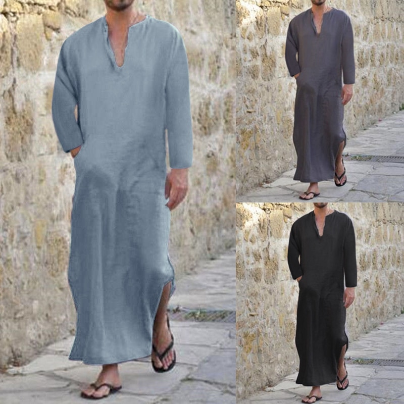 INCERUN camisa de los hombres con cuello en V de algodón Tops de manga larga bolsillos Tops camisas suelto islámica kaftán árabe hombres ropa de talla grande S-5XL