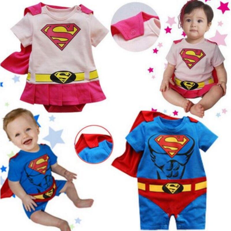 Baby Cartoon Stil Cosplay Superman Romper Kinder Kleinkind Blau Rosa Manteau Overall Kind Oansatz Kostüme Baby Baumwolle Kleidung