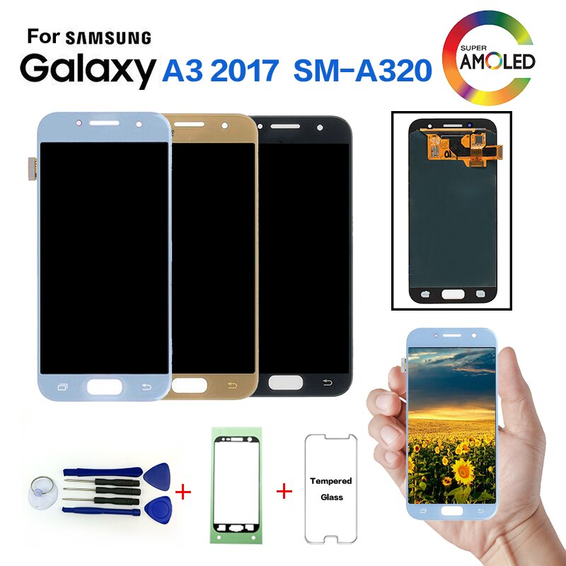 AMOLED para Samsung Galaxy A3 2017 A320 SM-A320F cambio de pantalla lcd para Samsung SM-A320FL A320Y Módulo de pantalla lcd