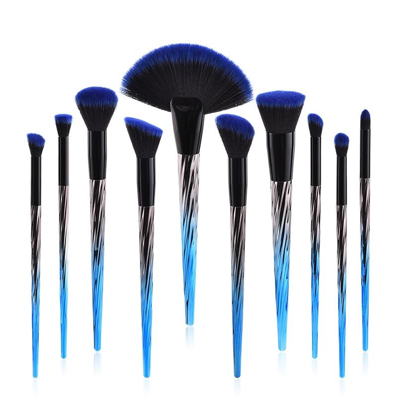 5/6/10 Uds de pinceles de maquillaje conjunto azul negro gradiente manejar de mezcla de bases brocha de cosméticos Kabuki Kit de bricolaje Kit de herramienta