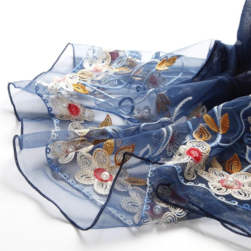 وشاح الحجاب الفاخر الجديد المطرز على شكل زهرة اللؤلؤ شال أورجانزا أوشحة عصرية شالات أصلية حجاب إسلامي ناعم