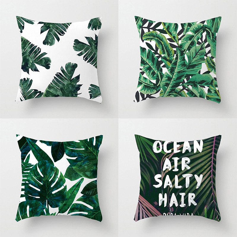 Green Tropical Palm Leaf Cushion Cover Cojin Nordico Linen Cotton Hibiscus Flower Throw Pillow Case Home Decor Sofa Soft