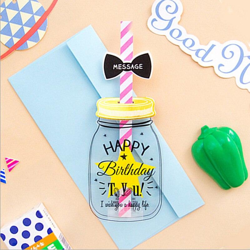 10 uds/lote creativa botella para alimentación sobre de papel novedad Feliz cumpleaños mensaje de felicitación carta tarjeta postal regalo