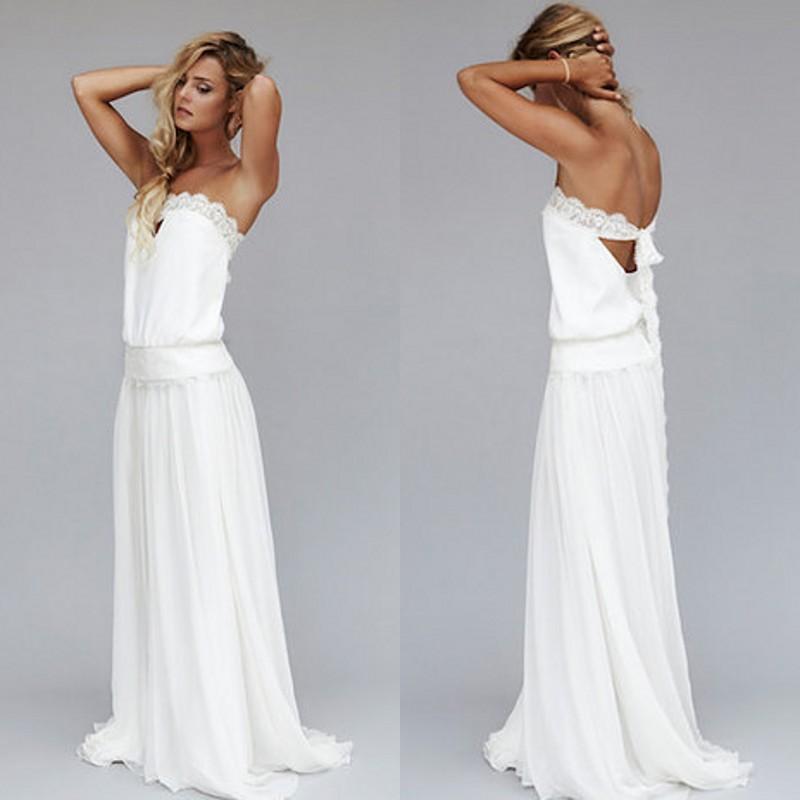Vestidos Vintage 1920s playa vestido de novia económico cintura caída bohemio sin tirantes espalda descubierta vestidos de novia estilo Boho lazo de encaje personalizado