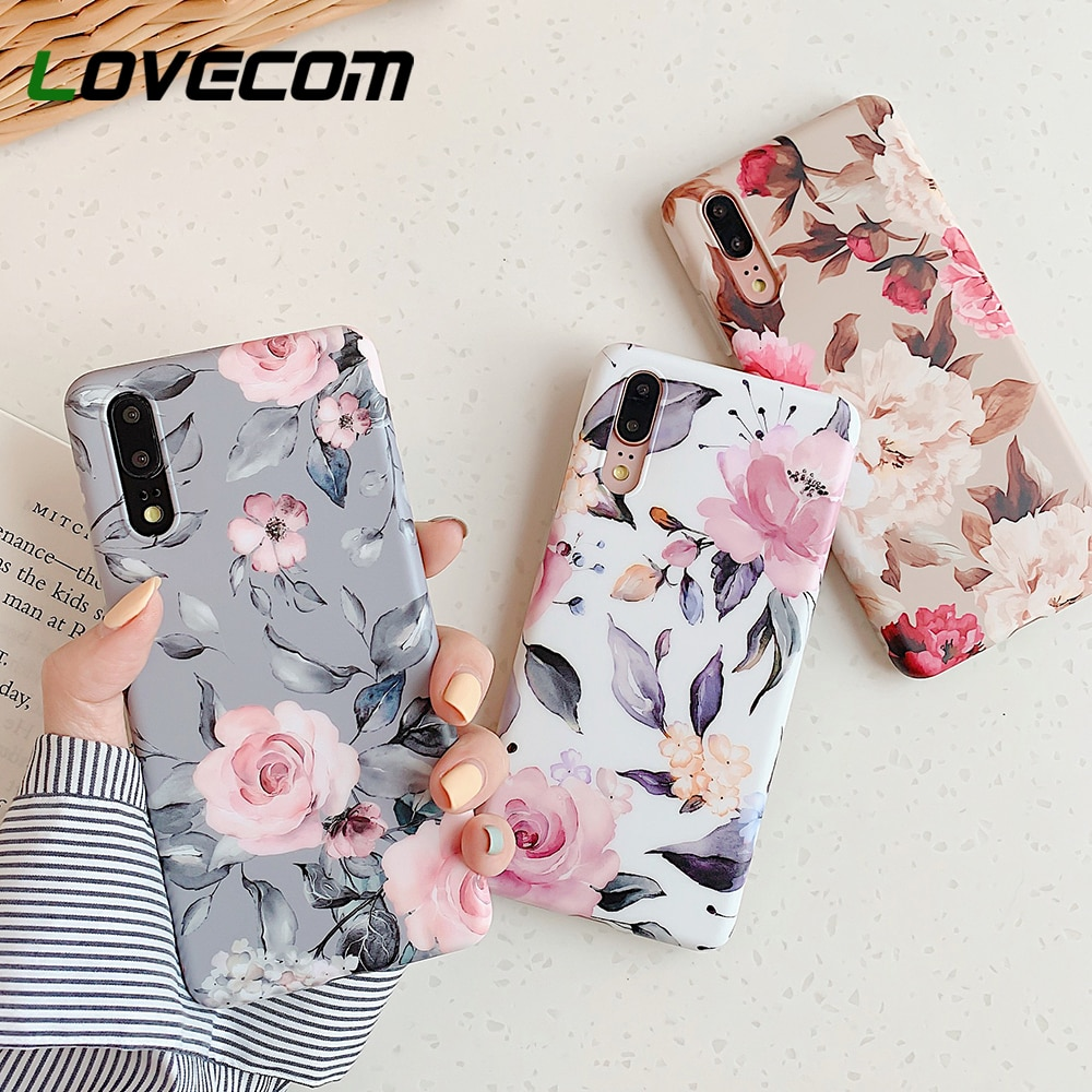 Funda de teléfono de hoja Floral Retro con soporte para Huawei P40 Pro P20 P30 Lite P20 P30 Pro Mate 20 30 Lite funda de teléfono IMD suave