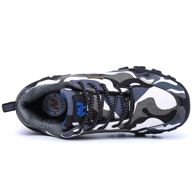 Купить с кэшбэком 2019 New Fashion Spring Autumn Comoufalge Denim Sneakers Breathable Casual Shoes Men Lace up Unisex Safety Non-slip Walking Shoe