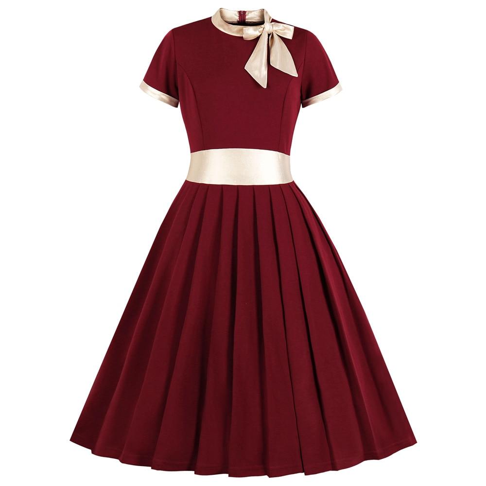 Joineles-Vestidos De talla grande para mujer, vestido Retro plisado De manga corta, con lazo y cinta, vestido Vintage De talla grande 4XL