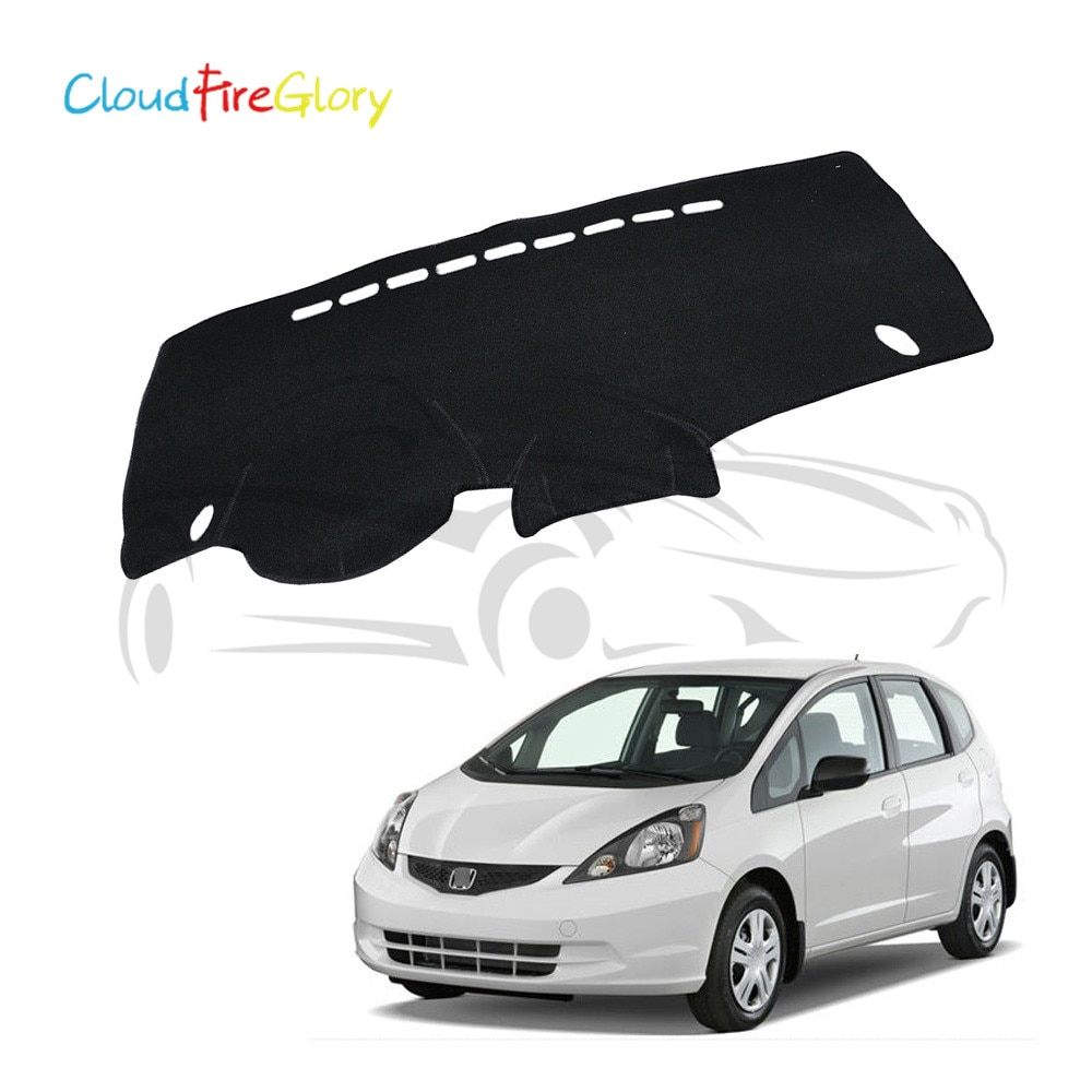 CloudFireGlory para Honda Fit / Jazz 2009-2013 negro tablero cubierta salpicadero Dash Mat Pad sombra de sol tablero, alfombra LHD