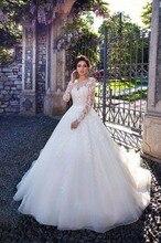 Trouwjurken 2019 새로운 볼 가운 웨딩 드레스 버튼 긴 소매 Appliques 패턴 고객 만든 크기 Vestido de novia