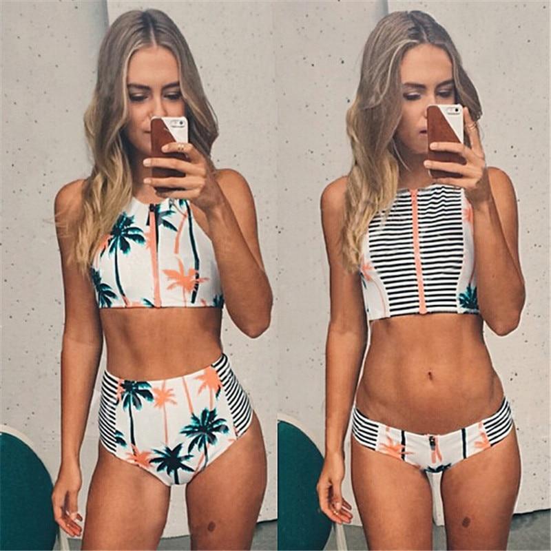Print Bloemen Palm Boom Bikini Set, Hoge Taille Badmode, hoge Hals Tank Rits Gestreepte Badpak Bh Vintage Badpak