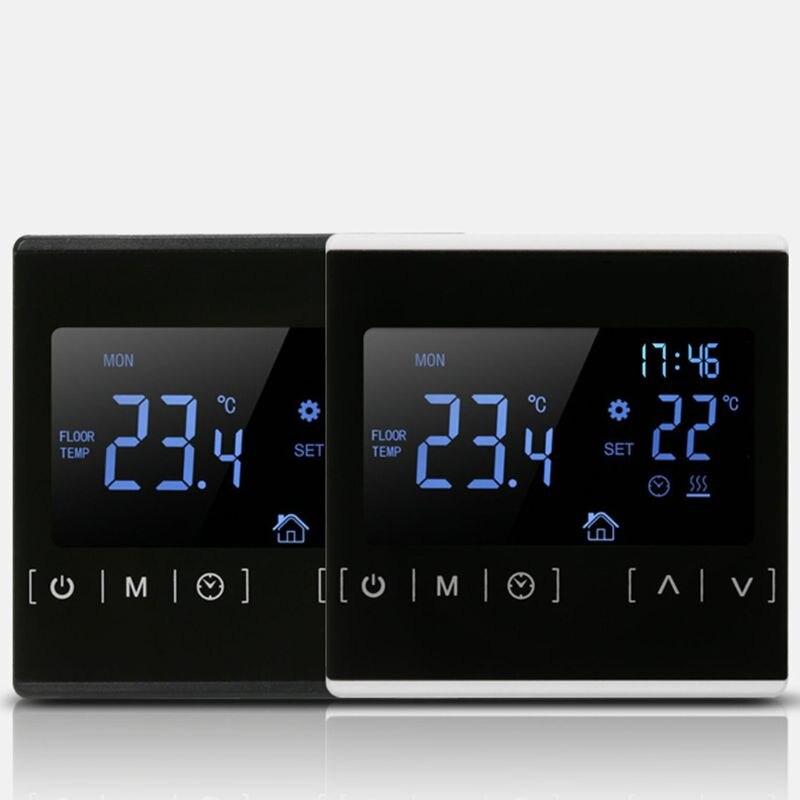 Termostato de pantalla táctil LCD, sistema de calefacción de suelo eléctrico, termorregulador de calefacción de agua, controlador de temperatura de AC85-240V, 110V 22