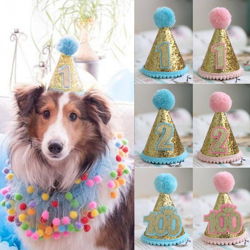 בארה ב באיכות גבוהה יום הולדת לחיות מחמד פאייטים המפלגה כלבלב תלבושות חתול כובע אבזר