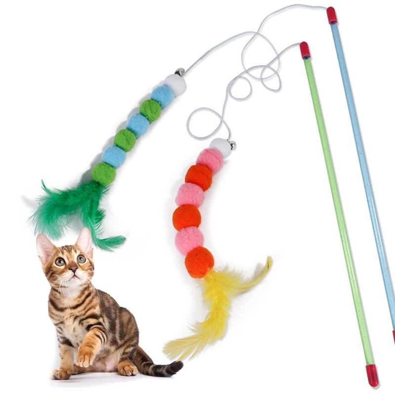 Juguete interactivo de gato de juguete con plumas de Pompón, juguete de caza para gatos con campana pequeña artículos para gatos