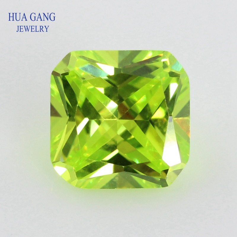 Tamaño 3x3 ~ 12x12mm 5A Cubic Zirconia Apple cuadrado verde forma octangular princesa corte piedra CZ sintético gemas de cuentas envío gratuito