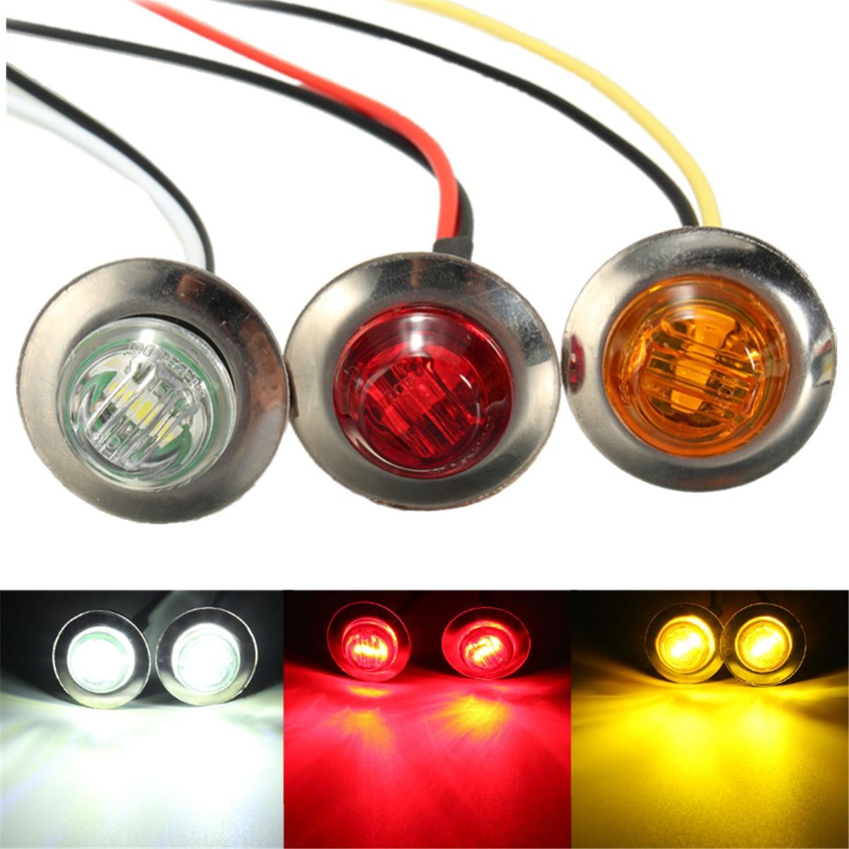 Pair 12V LED Side Marker Turn Signal Light Clearance Indicator Lamp Amber Red White For Truck Trailer Caravan Bus