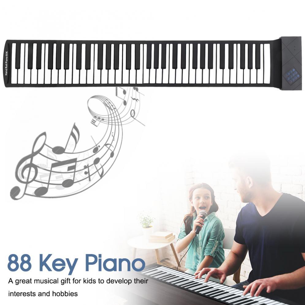 88 teclas USB MIDI enrolladas Piano Electrónico portátil teclado de silicona Flexible órgano con Pedal de apoyo WIN XP VISTA WIN7