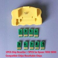 1PCS Chip Resetter + 9PCS for Epson 7890 9890 7908 9908 Compatible Chips Resetter Chips