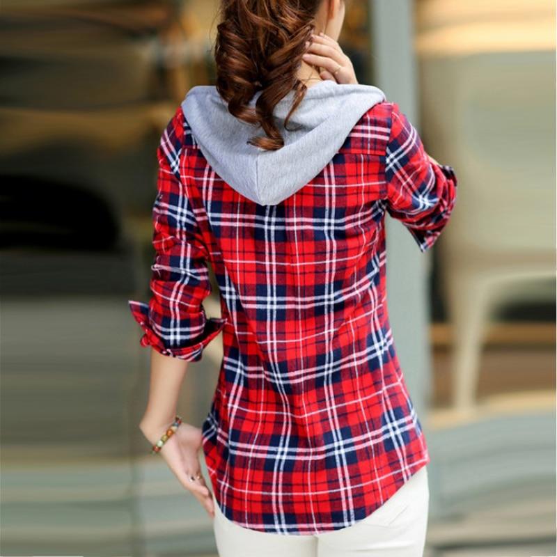 Camisas de franela a rayas de Otoño de manga larga con capucha blusas de algodón de marca blusas de Moda de Primavera Tops ropa Casual femenina