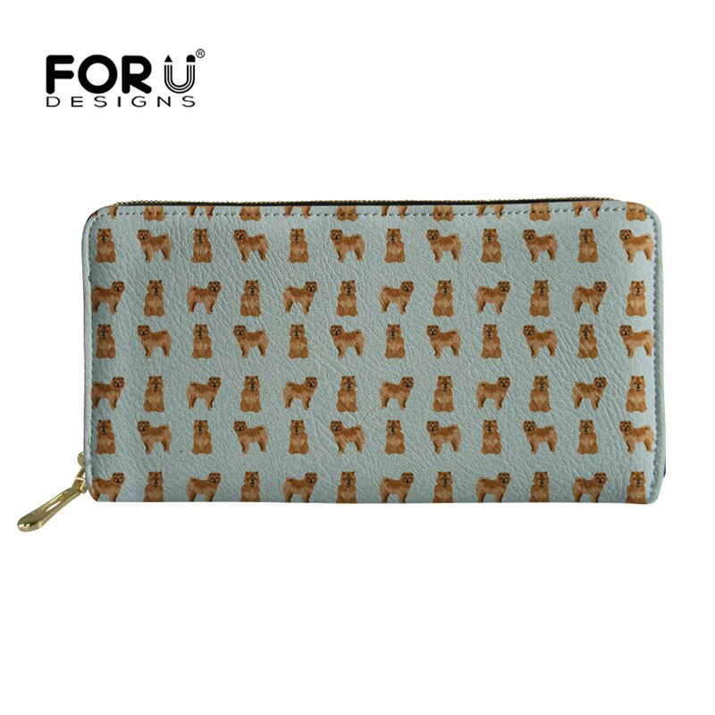 FORUDESIGNS Leather Wallet Women Clutch Chow Dog Pattern Ladies Phone Bag Coin Purse Multi-card Card