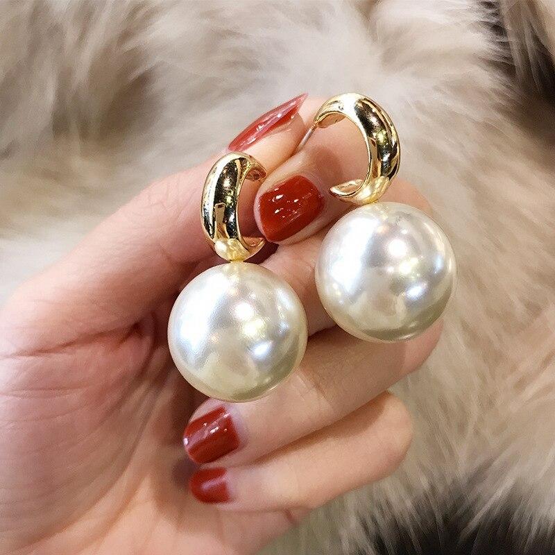 Pendientes de perlas de imitación con personalidad para mujeres, pendientes de bolas grandes blancos y rojos, joyería de moda, Bisutería