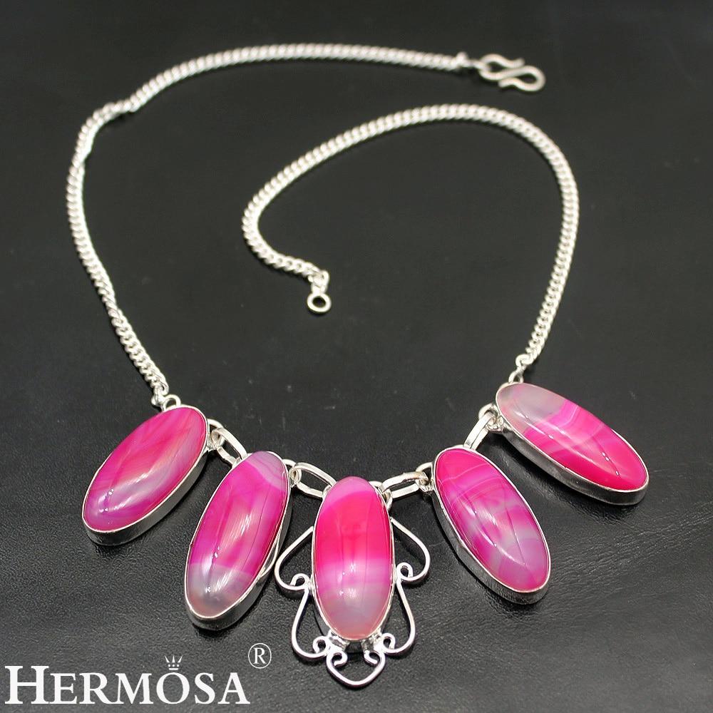 Hermosa flor mágica BotswanaAgate, cadena de Color plateado para mujer, collares de 17 pulgadas NY1024, regalo único