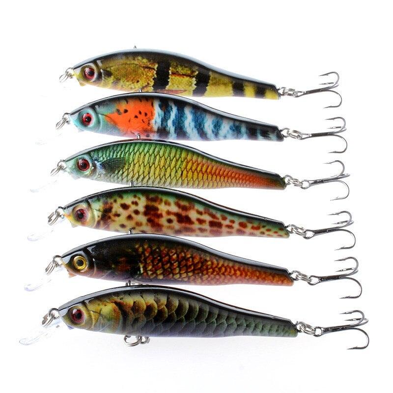 6 pçs/lote 9.5 centímetros 11.5g Iscas Minnow Isca de Pesca Para O Mar 3D Olhos Lifelike Crankbait Wobblers Isca Artificial Pesca combater Pesca