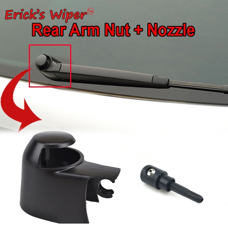 Erick's Wiper Windshield Windscreen Rear Wiper Arm Washer Cover Cap Nut & Jet Nozzle Set For VW Golf 5 2003-2009