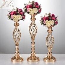 Créatif creux or/argent métal bougeoir de mariage pièce maîtresse fleur vase support maison et hôtel route plomb décoration