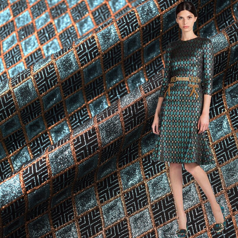 Rhombus Lattice Yarn Dyed Jacquard Fabric For Dress Fashion Polyester Brocade Fabrics Costura Vestidos DIY Cloth Tissu au Metre