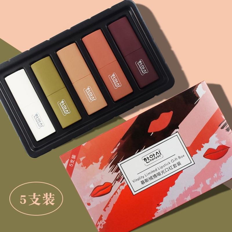 Moda maquillaje humectante conjuntos de lápiz labial mate chica belleza pintalabios suave Set sedoso Vitality limitado lápiz labial caja de regalo elegante