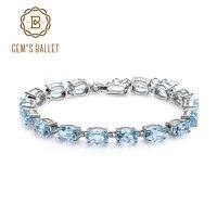 gems ballet 925 sterling silver gemstone bracelet 22 11ct natural oval sky blue topaz bracelets bangles for women fine jewelry