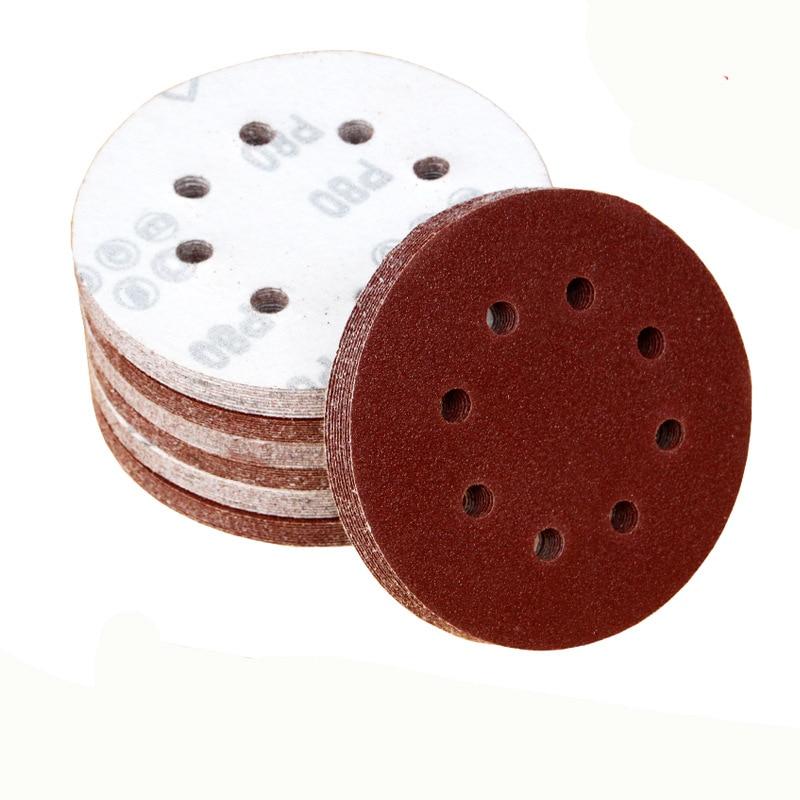 20бр. 5 инча 125 мм кръгла шкурка с осем дупки дискови пясъчни листове с пясък 40-800 шлифовъчни дискове с кука и бримка