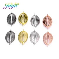 juya diy jewelry accessories micro pave clearblack zircon shell connectors for handmade bracelets jewelry making components