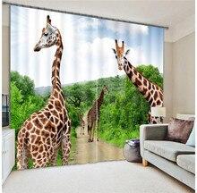 Girafe zèbre impression numérique 3D rideaux occultants enfants pour salon literie chambre rideaux Cotinas para sala