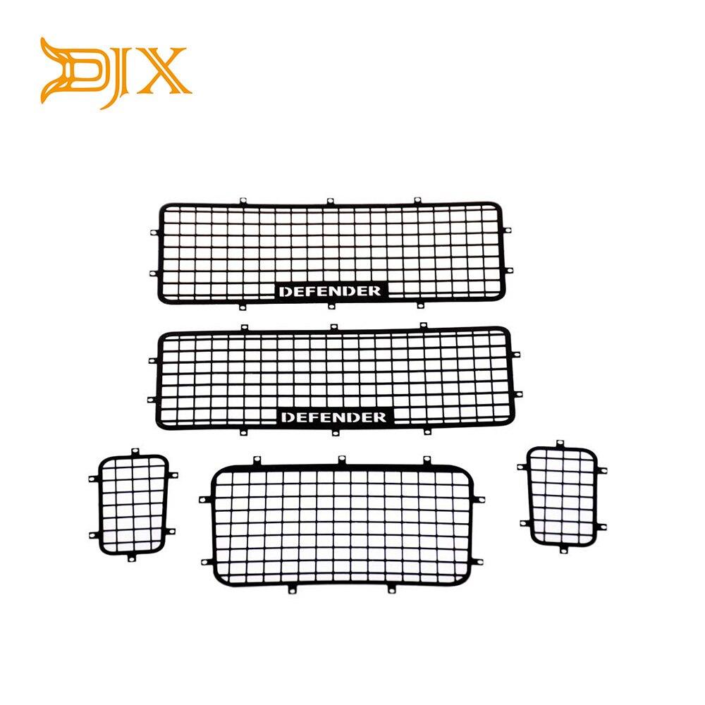 DJX, 5 uds., ventana de Metal TRX4, Logo protector de red para 1/10, trepador de coche de control remoto Traxxas TRX-4, accesorios