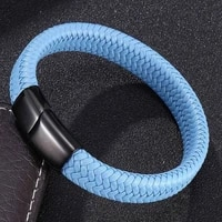 2021 new punk leather men blue braid rope chain stainless steel magnetic clasp bangles fashion wristband gift bb0003