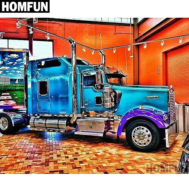 """HOMFUN taladro cuadrado/redondo completo 5D DIY pintura de diamante """"camión azul"""" bordado punto de cruz 5D decoración del hogar regalo"""