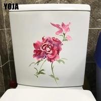 YOJA     autocollant de fleur de Rose aquarelle a la mode  decoration de chambre a coucher  mur de toilette  maison