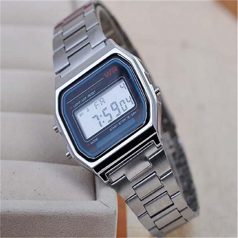 2019 New Fashion Black silver Couple Watch digital watch square military men/women dress sports watches whatch women Silver