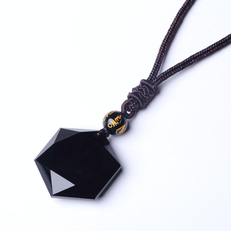 QIANXU Schwarz Obsidian Sechs Granne Stern Anhänger Halskette Obsidian Stern Schmuck Obsidian Jade Schmuck Edlen Schmuck