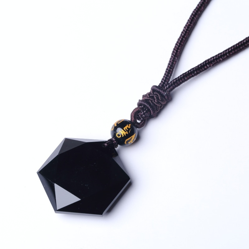 QIANXU negro obsidiana seis Awn estrella colgante collar obsidiana estrella joyería obsidiana Jade joyería fina joyería