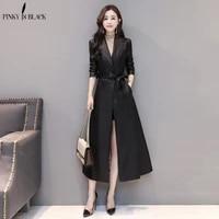 pinkyisblack x long leather jacket women fashion female plus size 4xl turn down collar single button belt leather coat outerwear
