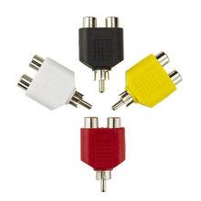 4 Pcs/lot RCA Y séparateur AV Audio vidéo prise convertisseur 1 mâle à 2 femelle adaptateur Kit Lotus couleur AV prise RCA à Double